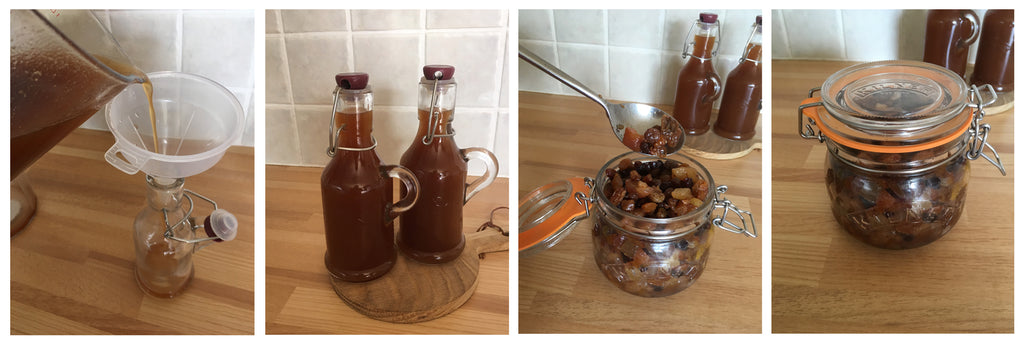 Storing Christmas Pudding Vodka Liqueur and Fruit using Kilner from Potters Cookshop