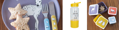Into The Wild Little Explorers Children's Cutlery Set, Snack Pots and Hydration Water Bottle