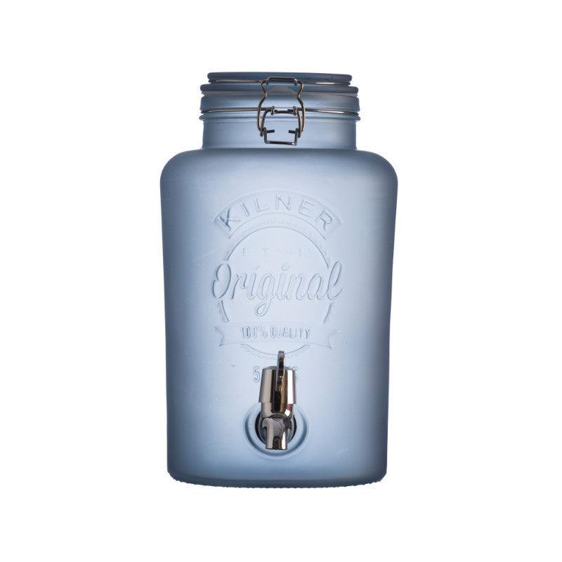 Kilner 5 Litre Frosted Blue Glass Drinks Dispenser