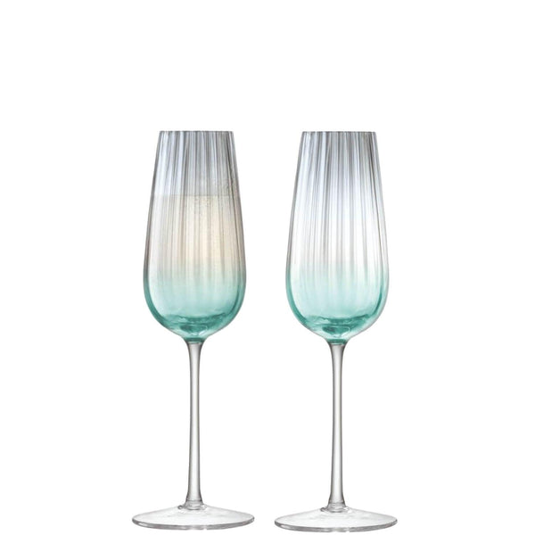 LSA Dusk Green & Grey Champagne Flute 250ml - Set of 2