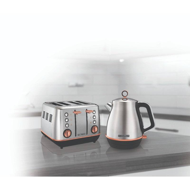 Morphy Richards Evoke Rose Gold Kettle and Toaster Set - Brushed Steel