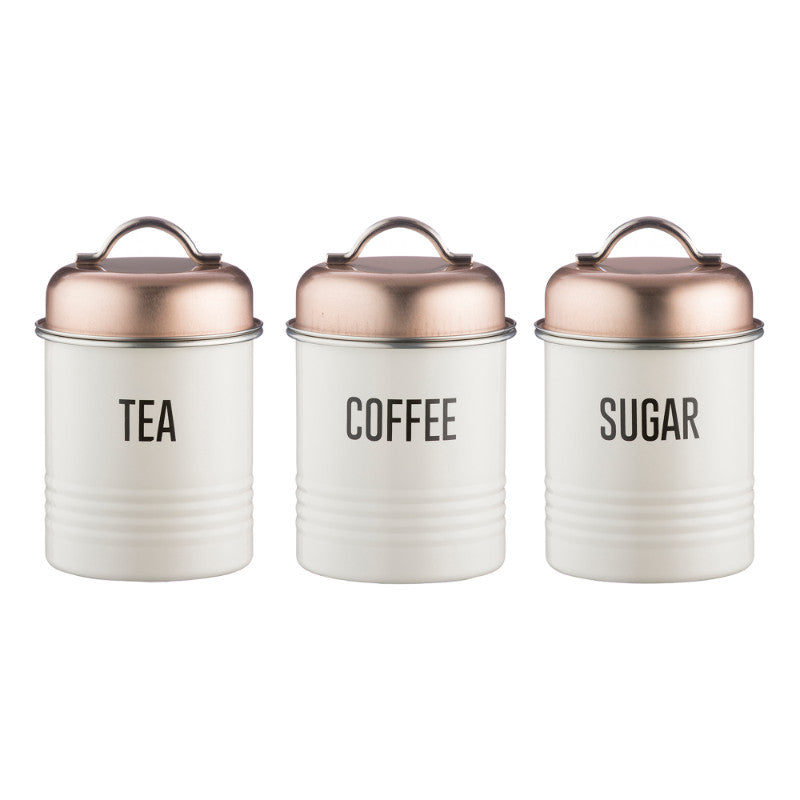 Typhoon Tea Coffee Sugar >> Typhoon Vintage Copper | Tea Coffee Sugar Canisters | 3 Piece Set | UK – Potters Cookshop