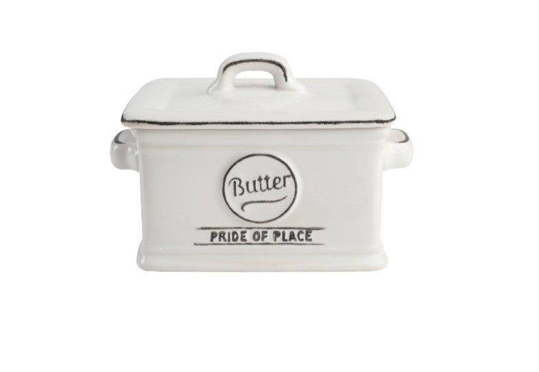 Pride of Place Vintage Butter Dish - White
