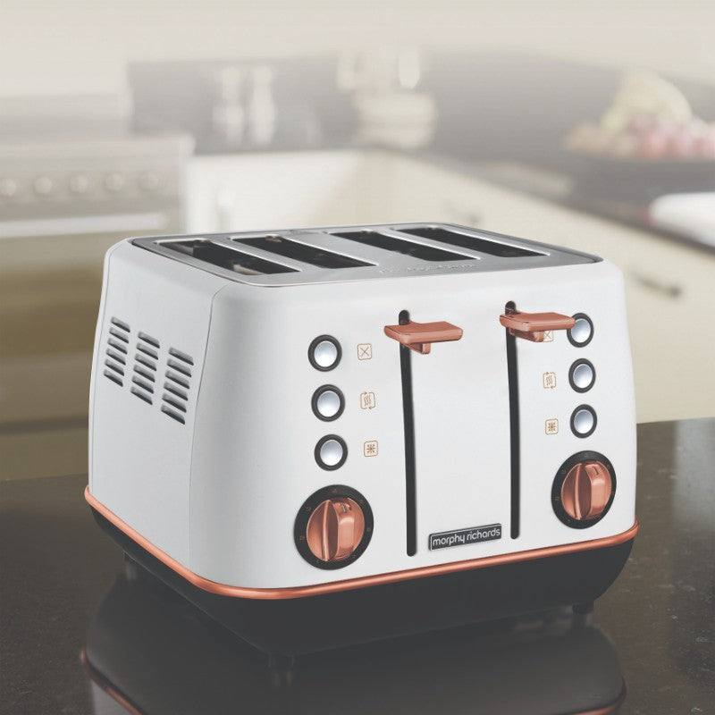 Morphy Richards Evoke Rose Gold Toaster - White - Cord Storage