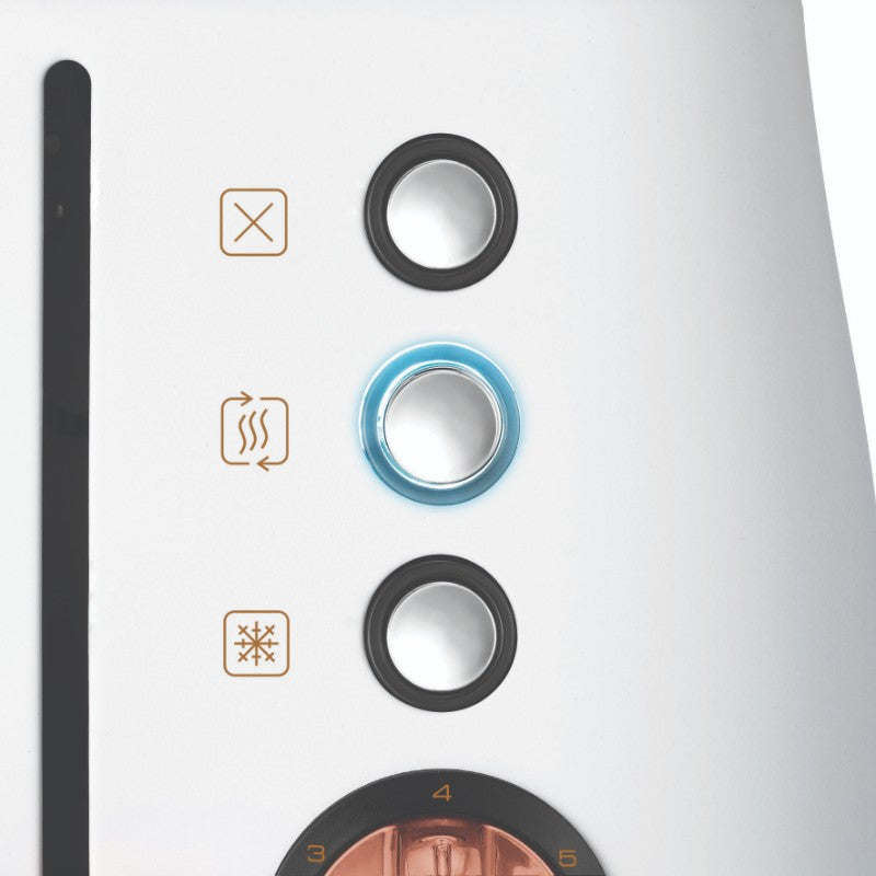 Morphy Richards Evoke Rose Gold Toaster - White - Illuminated Buttons
