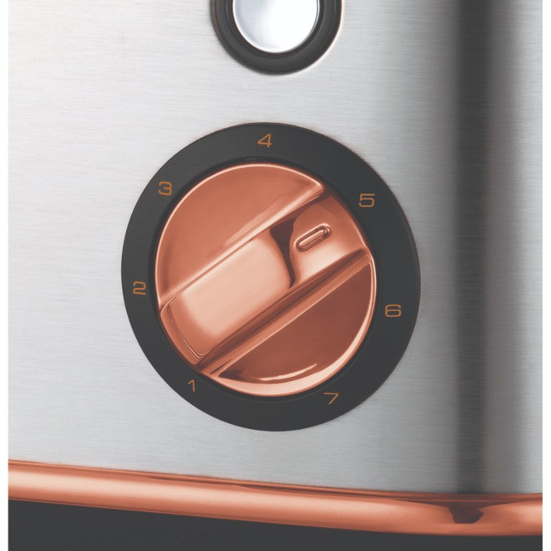Morphy Richards Evoke Rose Gold Toaster - Brushed Steel - Browning Control