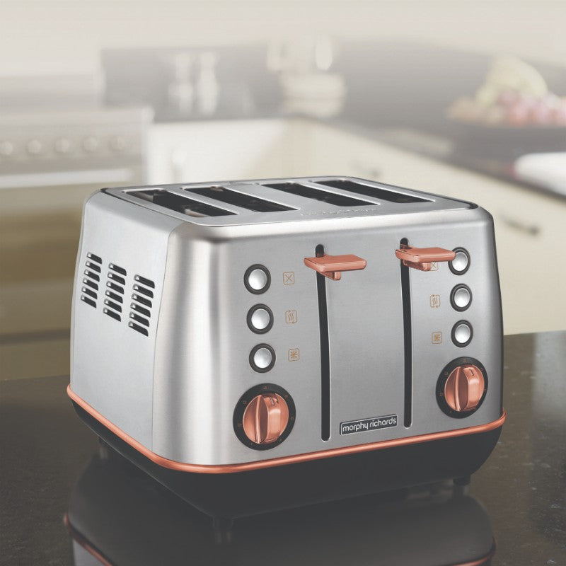 Morphy Richards Evoke Rose Gold Toaster - Brushed Steel - Cord Storage