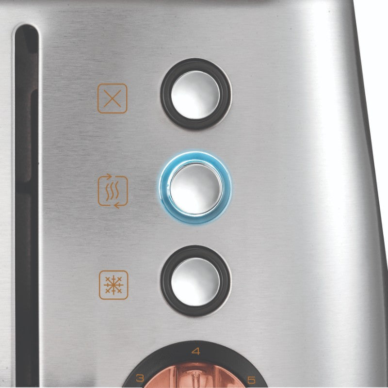 Morphy Richards Evoke Rose Gold Toaster - Brushed Steel - Illuminated Buttons