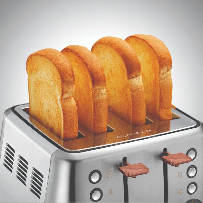 Morphy Richards Evoke Rose Gold Toaster - Brushed Steel - Pop Up