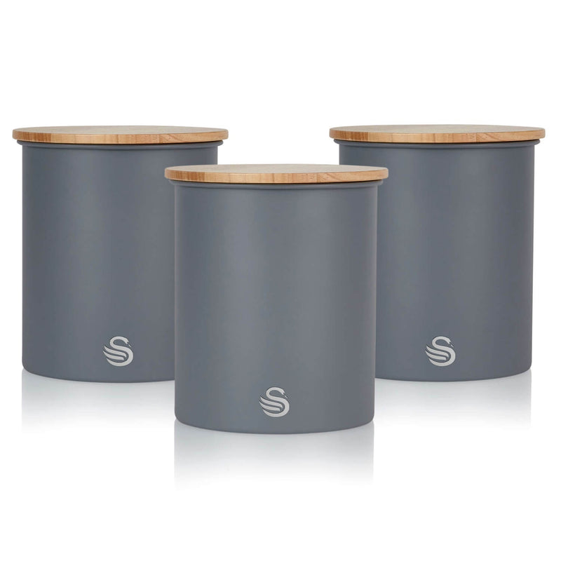Swan Nordic 3 Piece Storage Canister Set - Grey