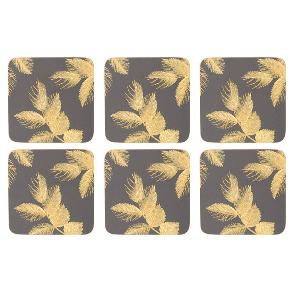 Sara Miller London Etched Leaves Dark Grey Coasters - Set of 6