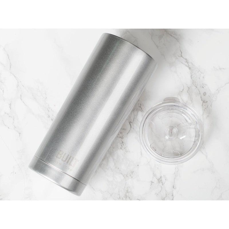 5193244 Built 20oz Double Walled Silver Tumbler - Marble Background