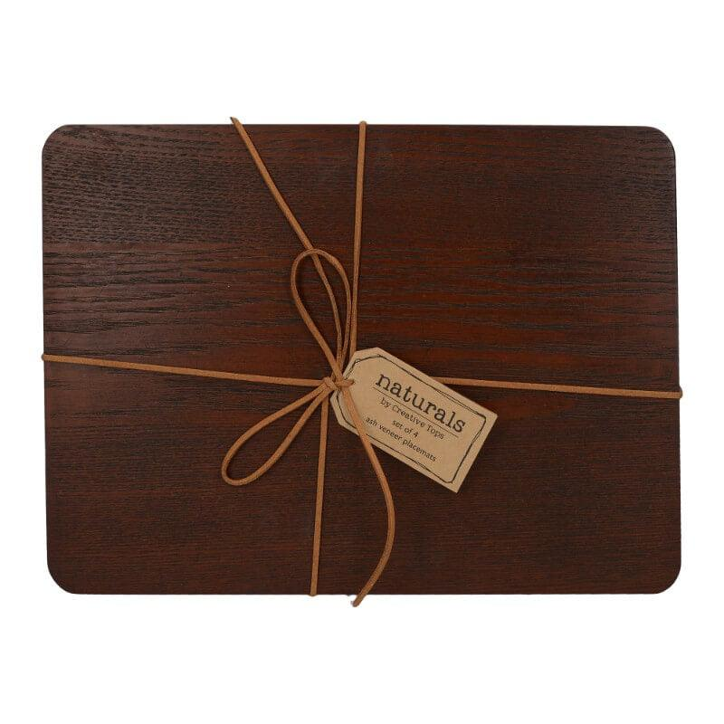 Creative Tops Naturals 4 Piece Rectangle Placemat Set - Brown Wood