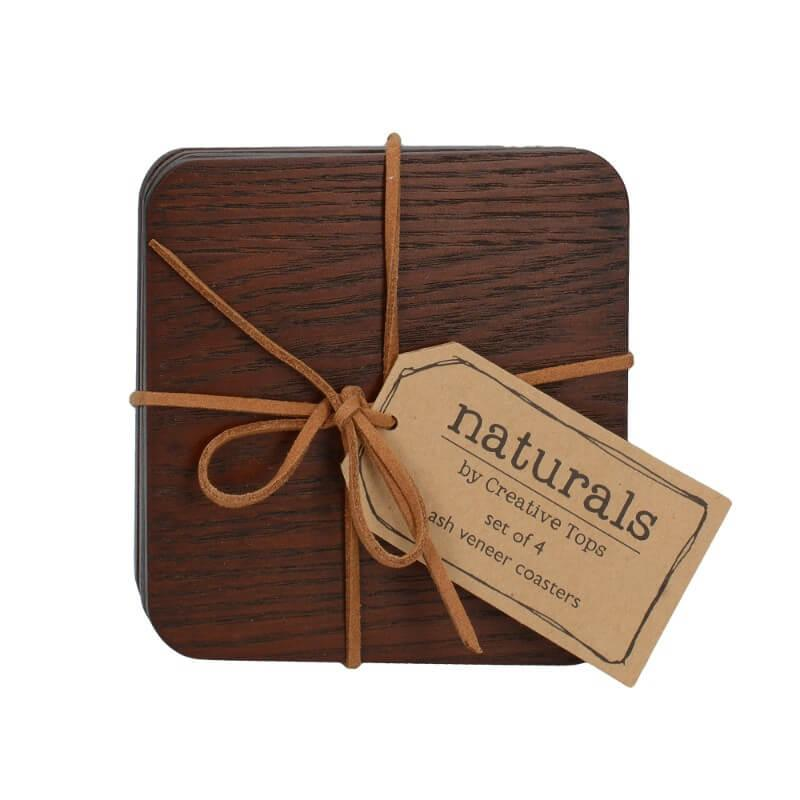Creative Tops Naturals 4 Piece Square Coaster Set - Brown Wood