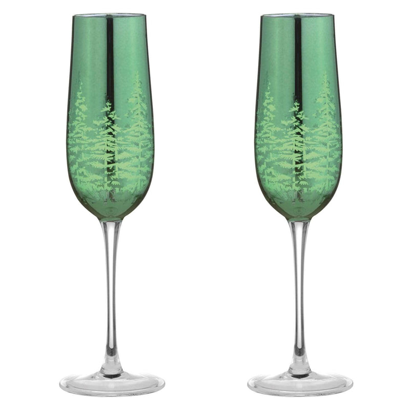 Artland Alpine Flute Glasses Green - Set of 2