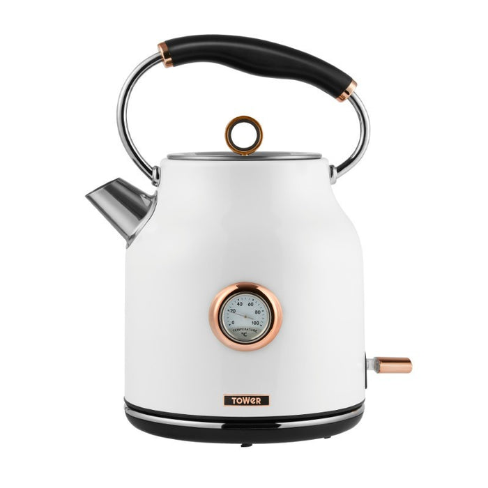 Tower Bottega Rose Gold 1.7 Litre Kettle - White