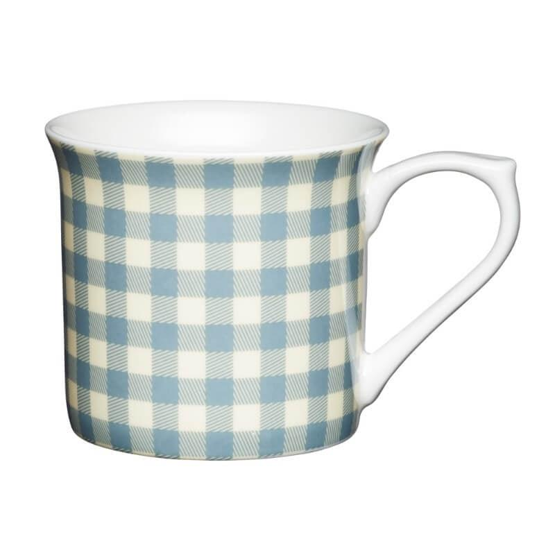 KitchenCraft Fluted Mug - Blue Gingham