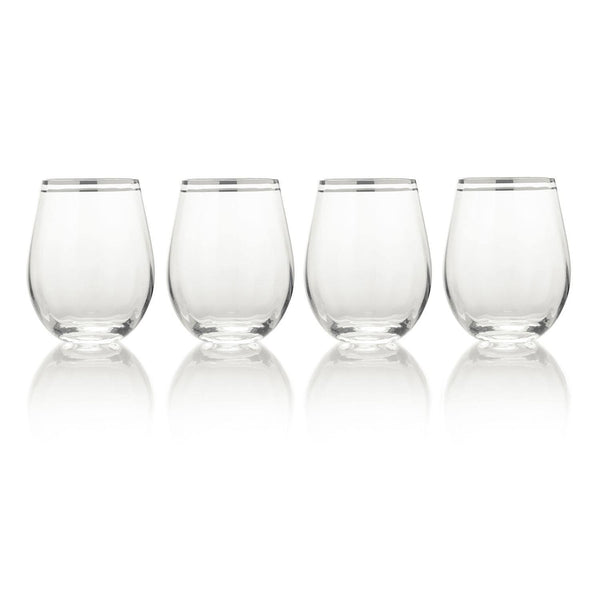 Mikasa Haley Platinum Stemless Glasses - Set of 4
