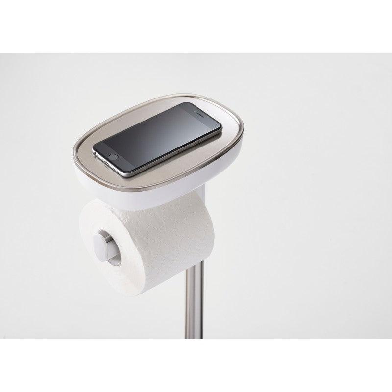 70519 Joseph Joseph EasyStore Plus Standing Steel Toilet Paper Holder - Stainless Steel Rest