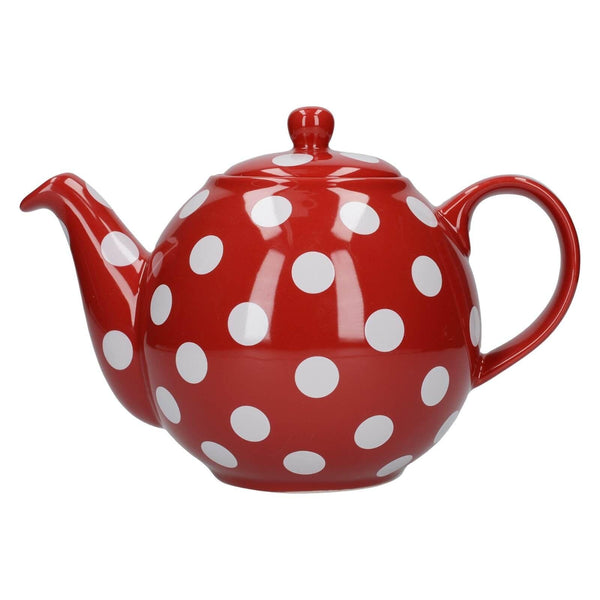 London Pottery Globe Red With White Spots Teapot - 4 Cup