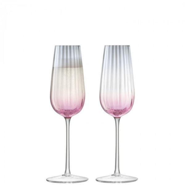 LSA Dusk Pink & Grey Champagne Flute 250ml - Set of 2
