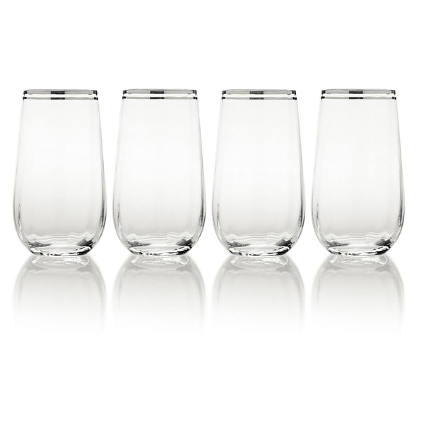 Mikasa Haley Platinum Highball Glasses - Set of 4