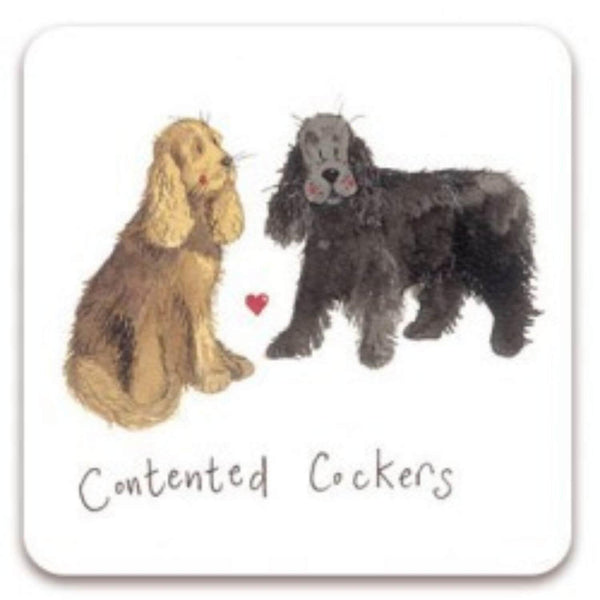 Alex Clark Coaster - Contented Cockers