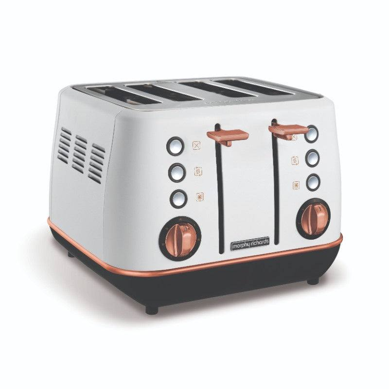 Morphy Richards Evoke 240115 Rose Gold Toaster - White