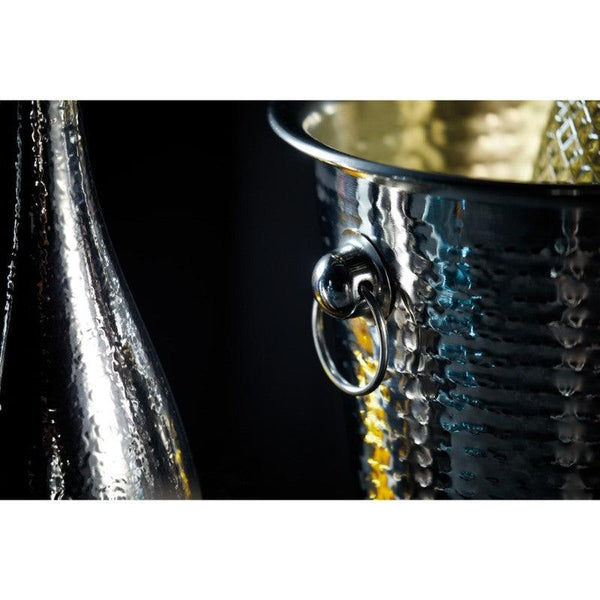 BCCHAMBUCHAM Barcraft Hammered Steel Champagne Ice Bucket Close Up