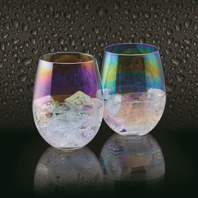 Barcraft Iridescent 600ml Glass Tumblers - Set of 2