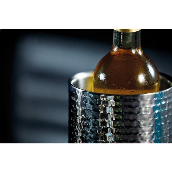 BCWCOOLHAM Barcraft Hammered Steel Wine Cooler Close Up