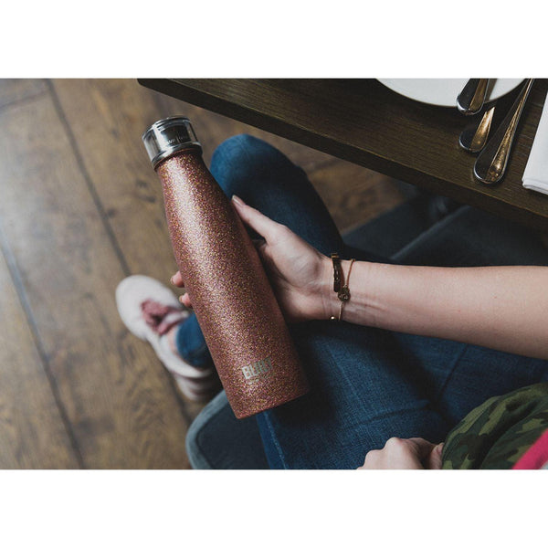 Built 17oz Double Walled Drinks Bottle - Rose Gold Glitter