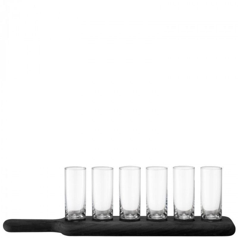 LSA Paddle Vodka Shot Glass & Black Beech Paddle Set