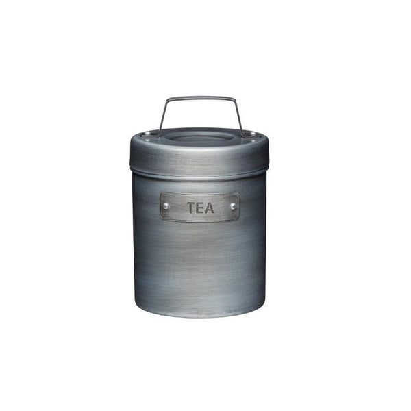 Industrial Kitchen Grey Metal Tea Canister