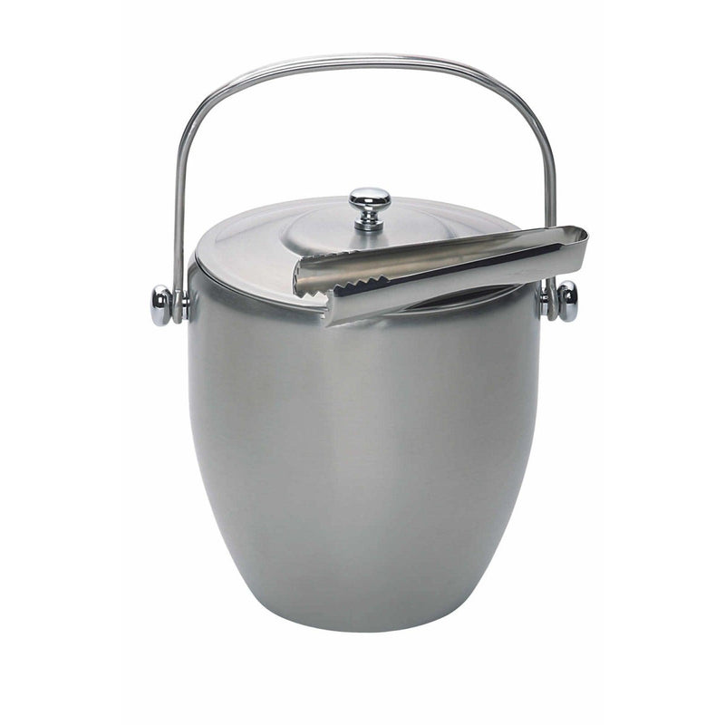 Barcraft Brushed Steel Ice Bucket With Lid & Tongs