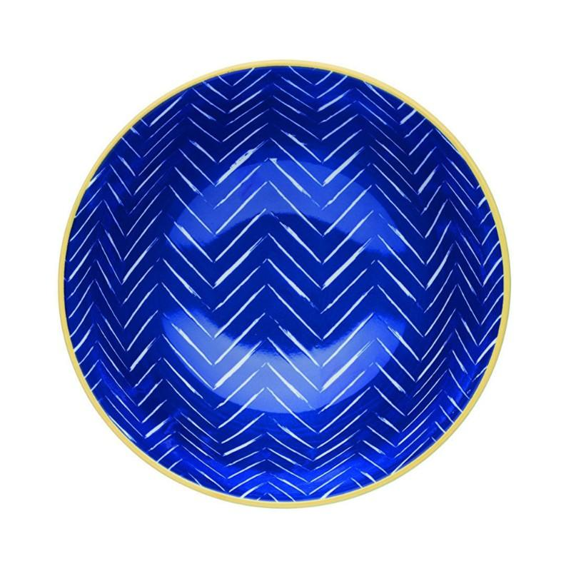 Kitchencraft Stoneware Bowl - Blue Chevron