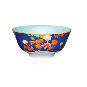 Kitchencraft 15.7cm Blossom & Peacock Feather Ceramic Bowl