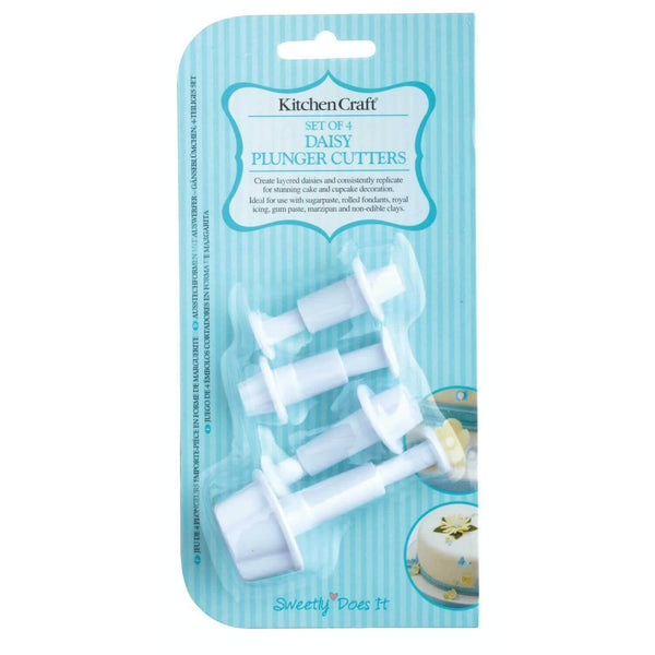 Sweetly Does It 4 Piece Fondant Plunger Cutter Set - Daisy