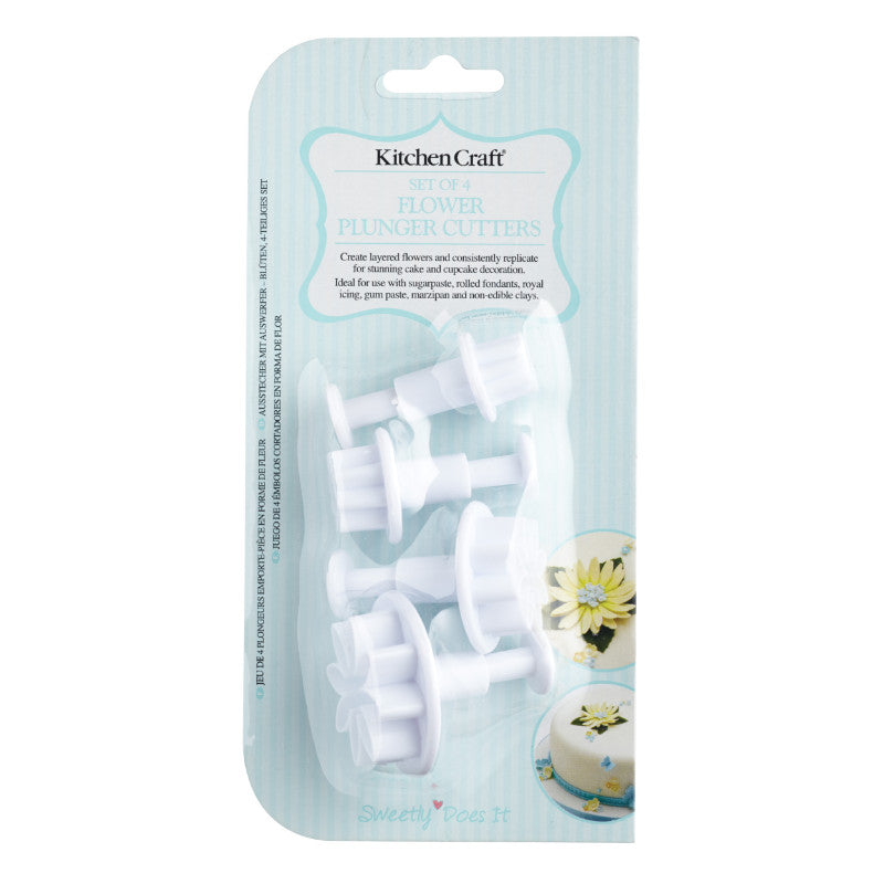 Sweetly Does It 4 Piece Fondant Plunger Cutter Set - Flower