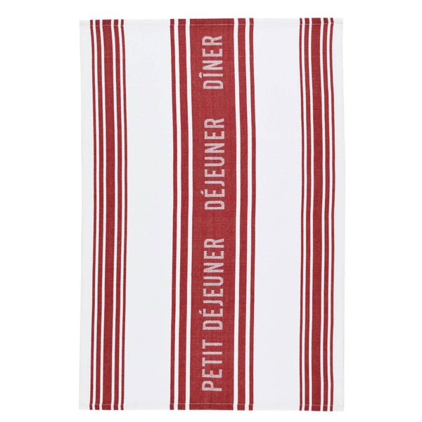 KitchenCraft Tea Towel Set - Jacquard Dark Red