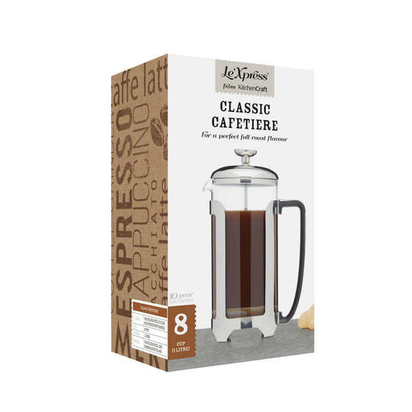 Le'Xpress Stainless Steel Cafetiere - 8 Cup
