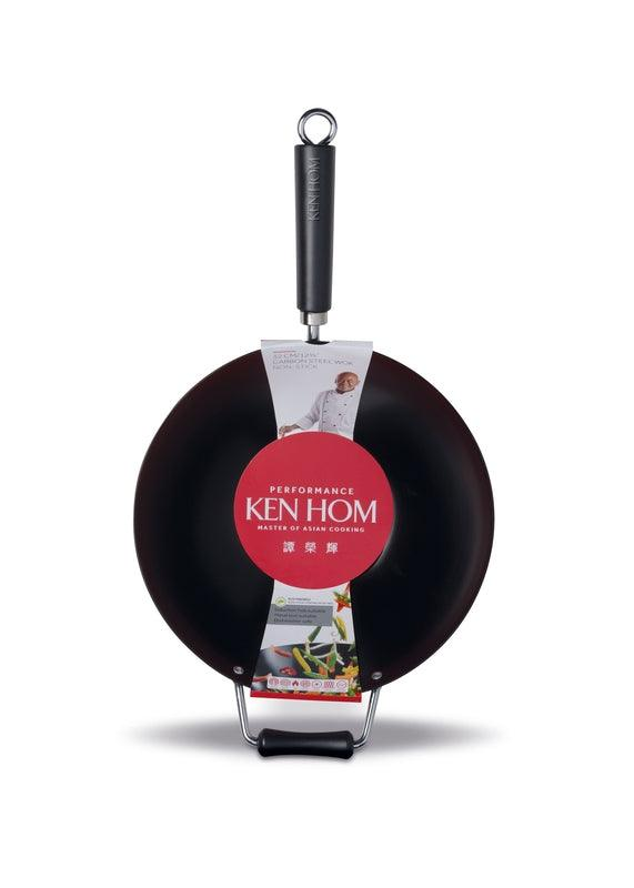 Ken Hom Performance Non-Stick Carbon Steel Wok - 32cm