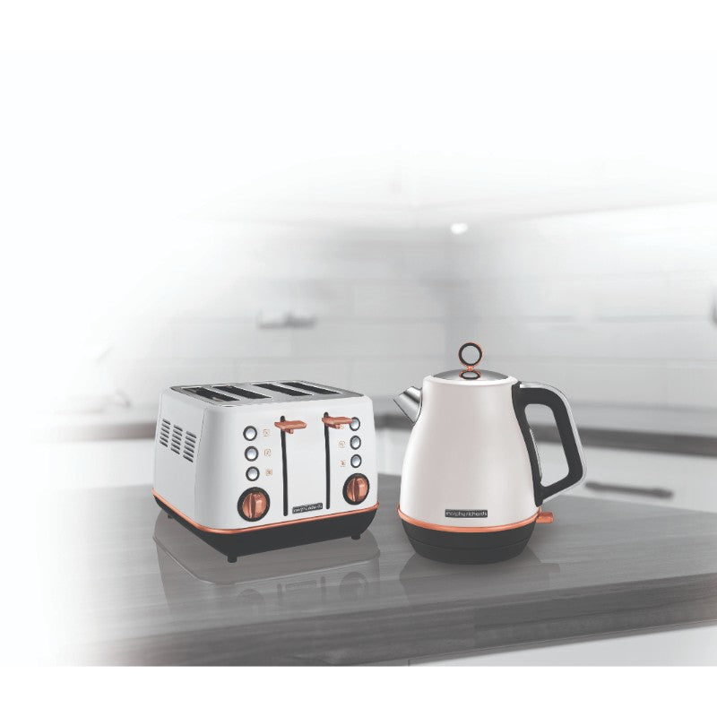 Morphy Richards Evoke Rose Gold Kettle and Toaster Set - White