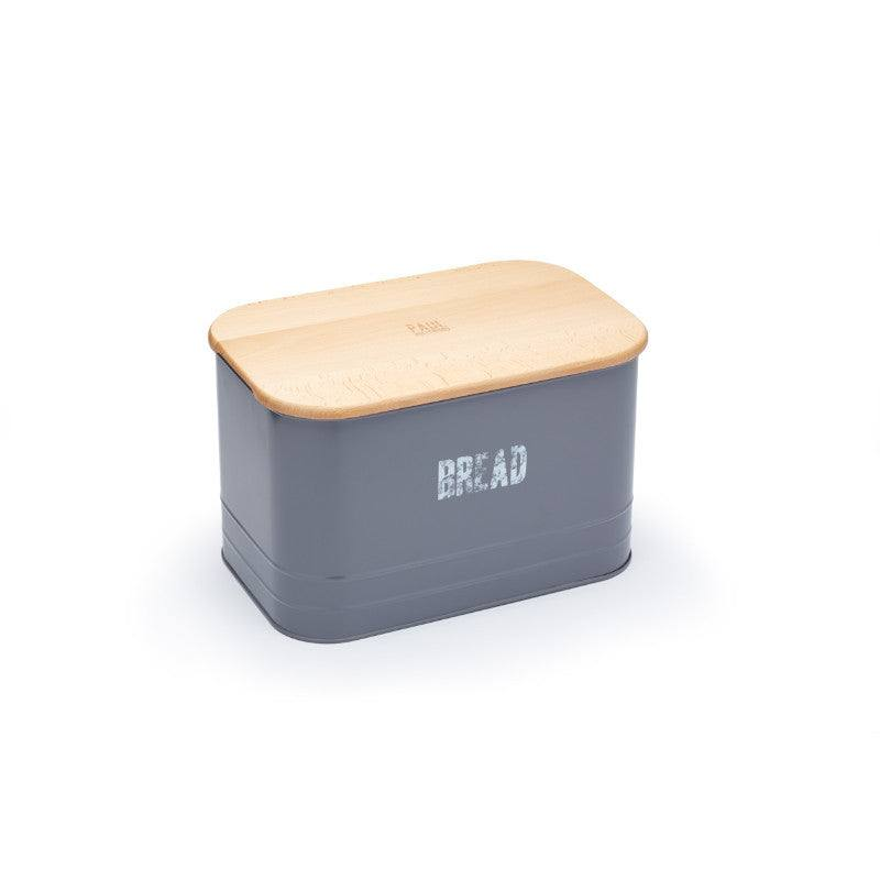 Paul Hollywood 2 in 1 Grey Metal Bread Bin With Wooden Lid