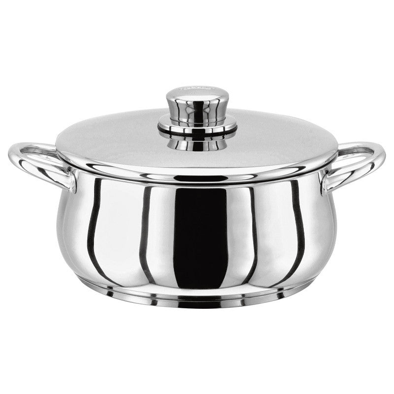 Stellar 1000 16cm Stainless Steel Casserole Pot 1.3 Litre With Lid