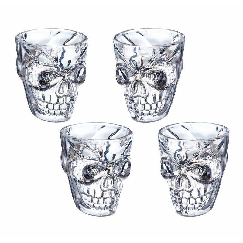 Spookily Does It 4 Piece Skull Shot Glasses Set