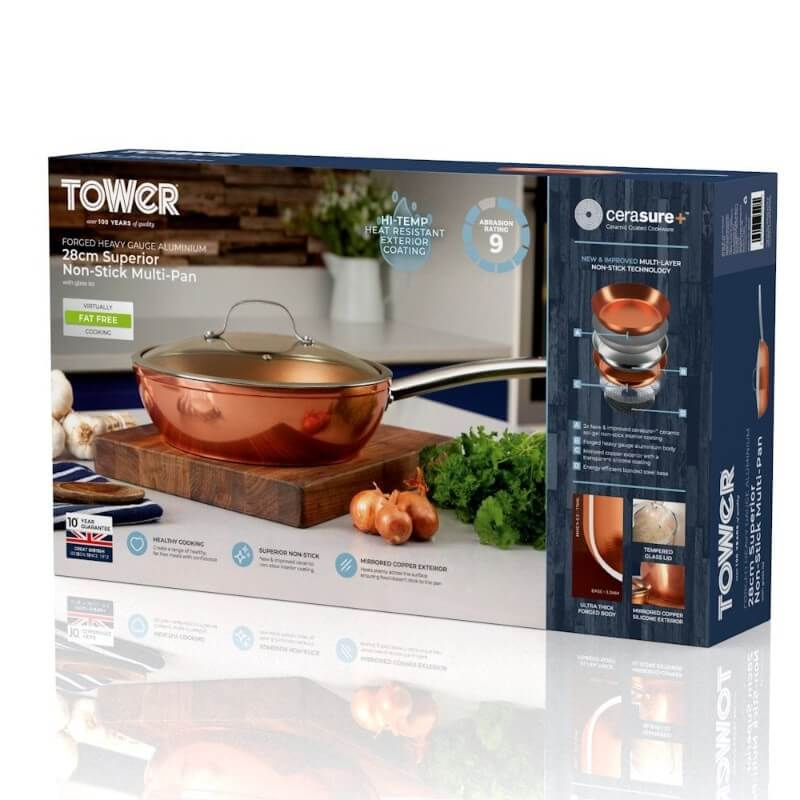 T800016 Tower Forged Aluminium 28cm Copper Multi-Pan - Boxed