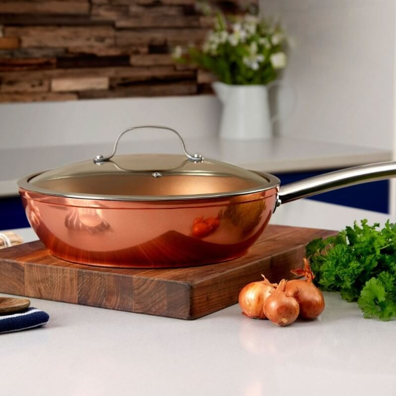 T800016 Tower Forged Aluminium 28cm Copper Multi-Pan - Kitchen Lifestyle