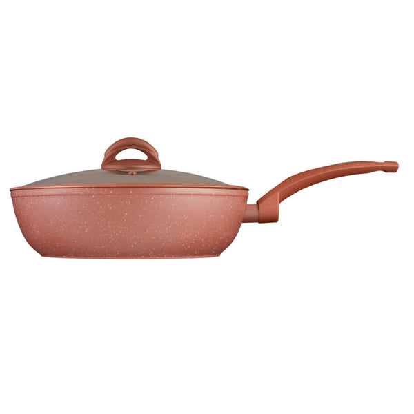 Tower CeraStone 28cm Saute Pan With Lid - Rose Gold