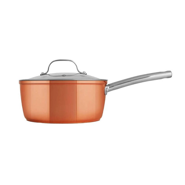 Tower Forged Aluminium Copper Saucepan Set - Side View